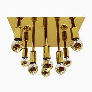 German Brass and Metal Ceiling Lamp from Sölken Leuchten, 1960s