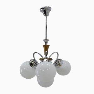 Lámpara de araña Art Déco de vidrio, años 30