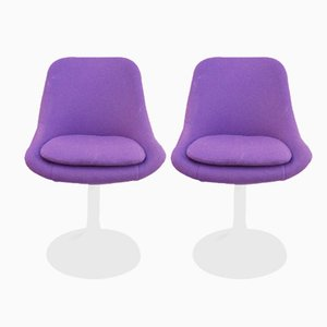 Mid-Century Purple Swivel Chairs, 1970s, Set of 2
