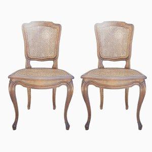 Antike Esszimmerstühle aus Schilfrohr, 2er Set
