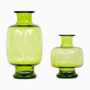 Jarrones escandinavos modernos de vidrio soplado artesanal de Per Lütken para Holmegaard, años 50. Juego de 2