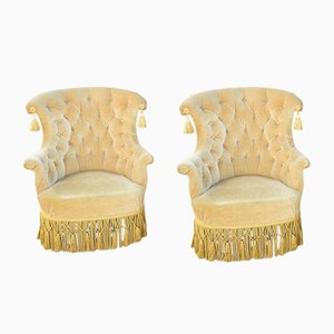 Gold Velvet Armchairs, 1950s, Set of 2
