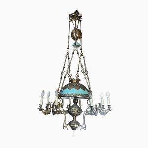 Lámpara de araña barroca antigua de bronce