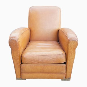Cognac Leather Club Chair, 1930s