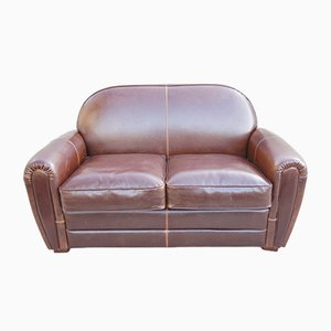 Chocolate Leather Club 2 Seat Sofa, 1930s