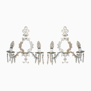 Neo-Classical Style Wrought Iron Sconces, 1930s, Set of 2