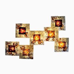 Applique da parete patchwork in vetro soffiato a mano di Toni Zuccheri per Venini, anni '70