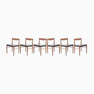 Chaises de Salon en Cuir et Teck par H. W. Klein pour Bramin, Danemark, 1960s, Set de 6