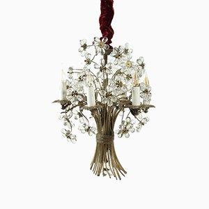 Floraler Vintage Kronleuchter aus Bronze & Kristallglas