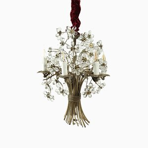 Vintage Bronze and Crystal Floral Chandelier