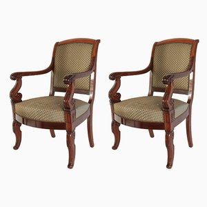 Antique French Mahogany Armchairs, Set of 2
