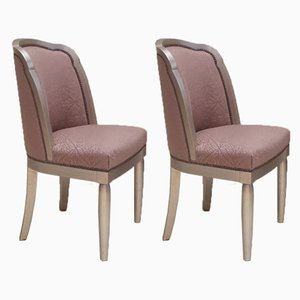 French Beech Art Deco Dining Chairs, 1920s, Set of 2