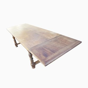 Antiker ausziehbarer Bauerntisch aus Walnuss