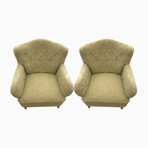 Mid-Century Danish Fabric Lounge Chairs, 1940s, Set of 2