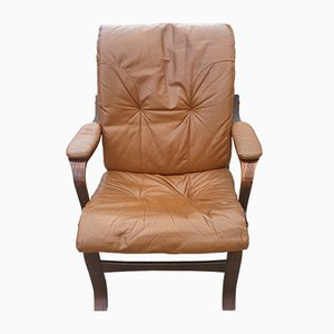 Vintage Danish Leather Lounge Chair, 1970s
