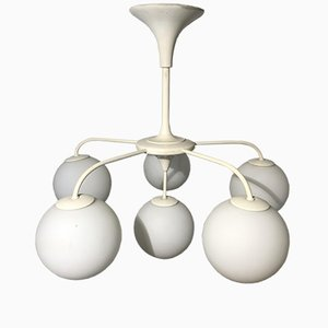 Chandelier with 6 White Opaline Glass Globes, 1960s