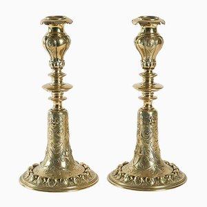 Niederländische antike Kerzenhalter aus Bronze, 2er Set