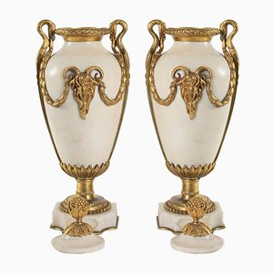 Antique Marble And Bronze Cassolettes, 1900s, Set of 2