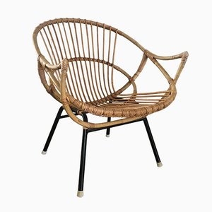 Rattan and Steel Lounge Chair from Rohé Noordwolde, 1960s