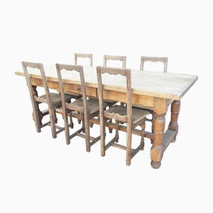 Antique Oak Farmhouse Dining Set