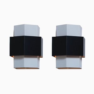 Black and White Wall Sconces by J. J. M. Hoogervorst for Anvia, 1960s
