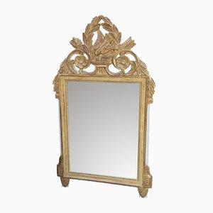 Antiker dekorativer Spiegel mit Vogel-Dekor aus Blattgold