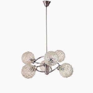 Lámpara de araña alemana de cromado y vidrio de Richard Essig, años 60