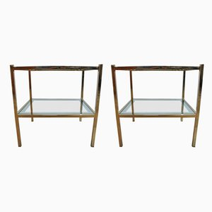 Mid-Century Metal & Mirrored Glass Coffee Tables, 1950s, Set of 2