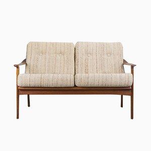 Sofá danés vintage de teca de dos plazas, años 70