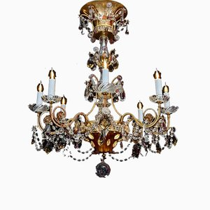 Brass and Crystal Chandelier from Maison Baguès, 1940s