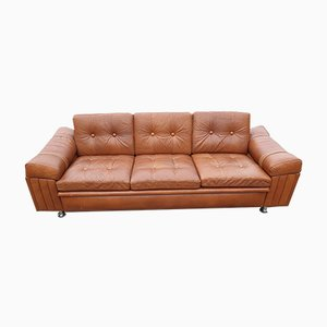 Mid-Century Danish Brown Leather 3-Seater Sofa from Skipper, 1960s