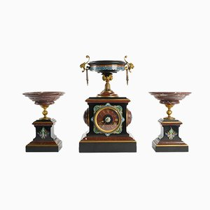 Antique French Bronze, Enamel, and Marble Mantle Clock & 2 Cassolettes by Eugene Cornu