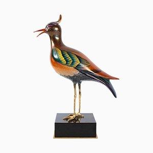 Bird Skulptur aus vergoldeter Bronze & Porzellan von Magoni, 1980er