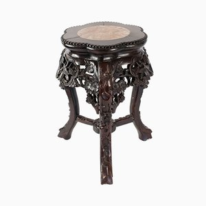 Antique Chinese Wood and Marble Tripod Side Table