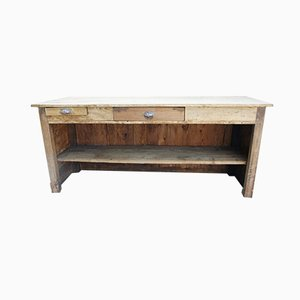 Antique Shop Counter with Open Shelves and Drawers
