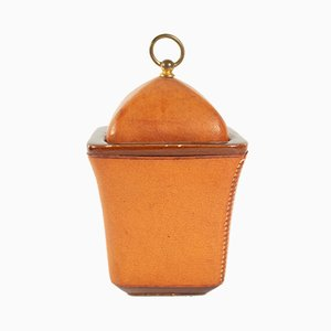 Vintage Leather Sheathed Tobacco Pot from Maison Longchamp