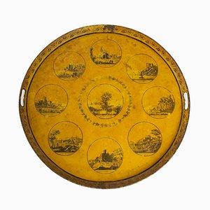 Antikes Lyoner Monumente Tablett aus Blech