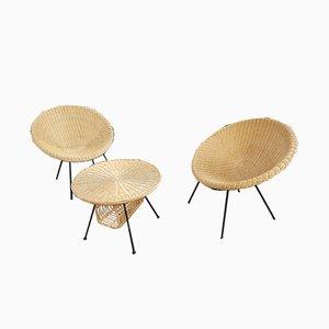 Italienisches Korbgeflecht Stühle und Tisch, 1960er