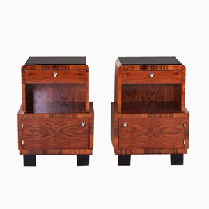 Black Glass and Walnut Art Deco Nightstands, 1930s, Set of 2