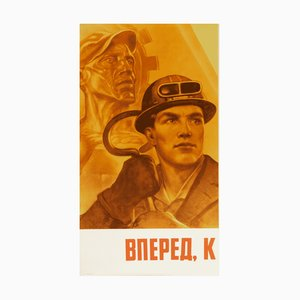 Kommunistisches Vintage Propagandaposter, 1980er