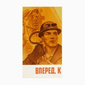 Póster de propaganda comunista vintage, años 80
