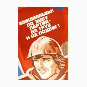Vintage Communist Propaganda Farming Poster, 1980s