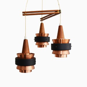 Vintage Scandinavian Copper and Steel Ceiling Lamps, 1960s, Set of 3