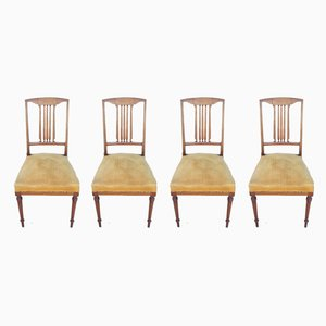 Gold Velvet Dining Chairs, 1930s, Set of 4