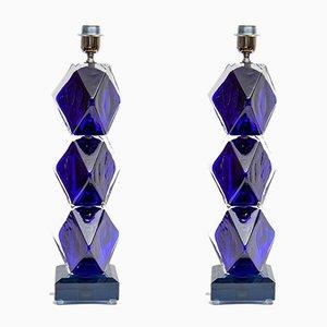 Lámparas de mesa italianas de cristal de Murano de Toso, años 90. Juego de 2