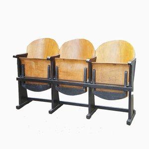 Asientos de cine Mid-Century de madera curvada