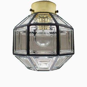Deutsche Deckenlampe aus Glas und Eisen von Limburg, 1960er