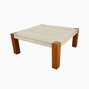 Mid-Century Teak and Travertine Coffee Table, 1960s