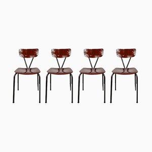 Deutsche Esszimmerstühle aus Metall von Pagholz Flötotto, 1950er, 4er Set