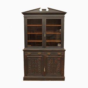 Mobiletto Art Nouveau antico in vetro, mogano e noce